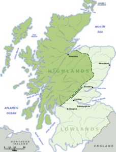 Map showing the boudary between the Scottish Highlands and Lowlands
