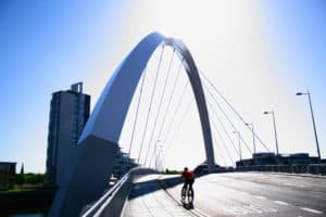 View of Squinty Bridge with cyclist crossing